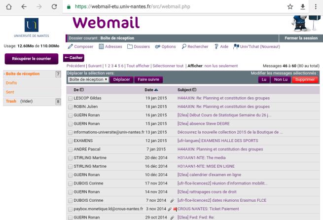 Calendrier Univ Nantes.Webmail Webservices Universite Nantes